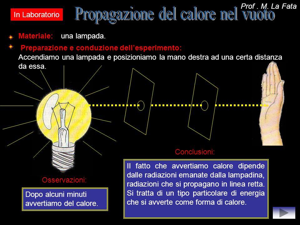 In Laboratorio Materiale:una lampada. Preparazione e conduzione dellesperimento: Accendiamo una lampada e posizioniamo la mano destra ad una certa dis