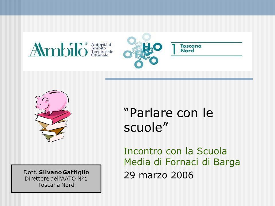 Parlare con le scuole Incontro con la Scuola Media di Fornaci di Barga 29 marzo 2006 Dott. Silvano Gattiglio Direttore dellAATO N°1 Toscana Nord