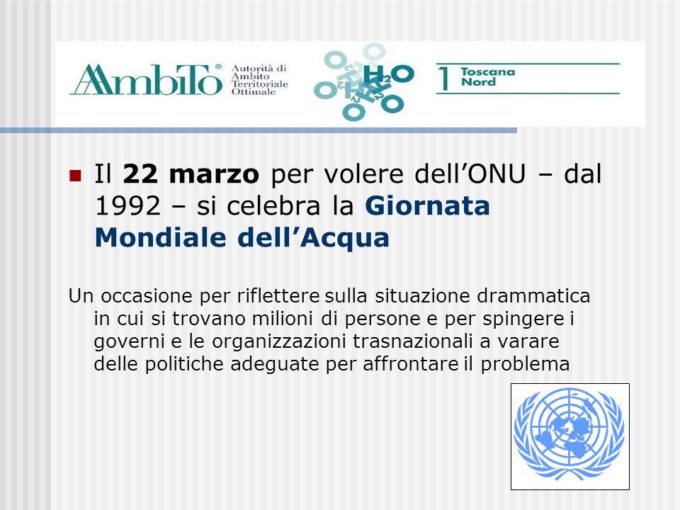 Il 22 marzo per volere dellONU – dal 1992 – si celebra la Giornata Mondiale dellAcqua Un occasione per riflettere sulla situazione drammatica in cui s