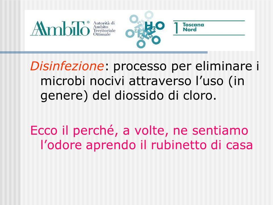 Disinfezione: processo per eliminare i microbi nocivi attraverso luso (in genere) del diossido di cloro. Ecco il perché, a volte, ne sentiamo lodore a