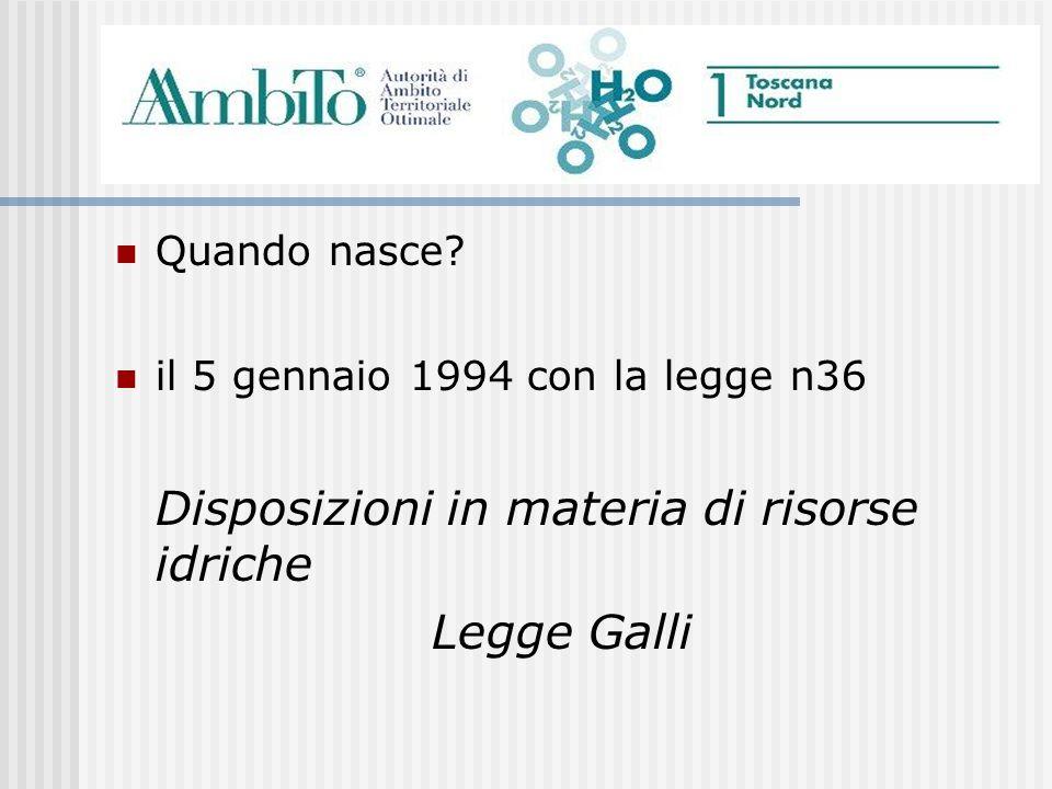 Quando nasce? il 5 gennaio 1994 con la legge n36 Disposizioni in materia di risorse idriche Legge Galli