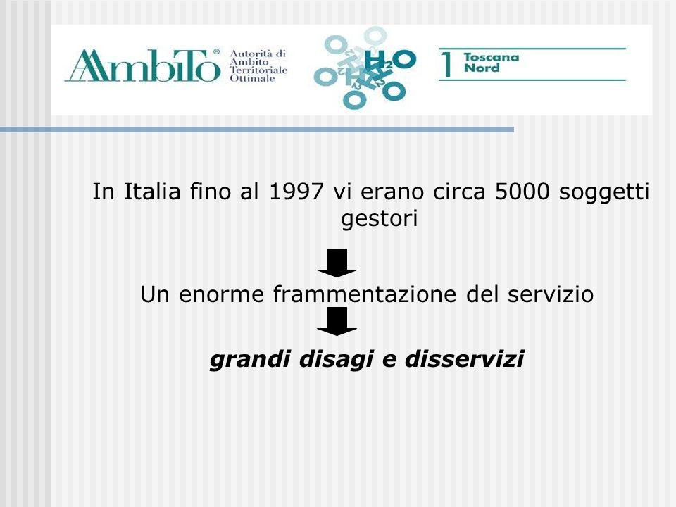 In Italia fino al 1997 vi erano circa 5000 soggetti gestori Un enorme frammentazione del servizio grandi disagi e disservizi