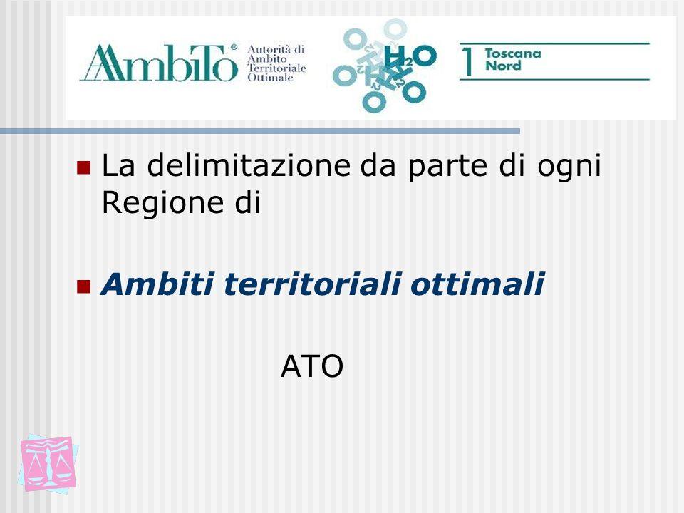 La delimitazione da parte di ogni Regione di Ambiti territoriali ottimali ATO