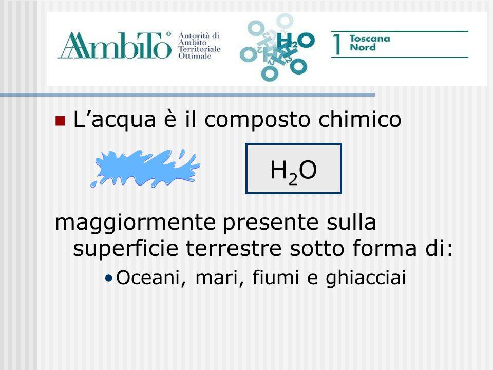 Lacqua è il composto chimico maggiormente presente sulla superficie terrestre sotto forma di: Oceani, mari, fiumi e ghiacciai H2OH2O
