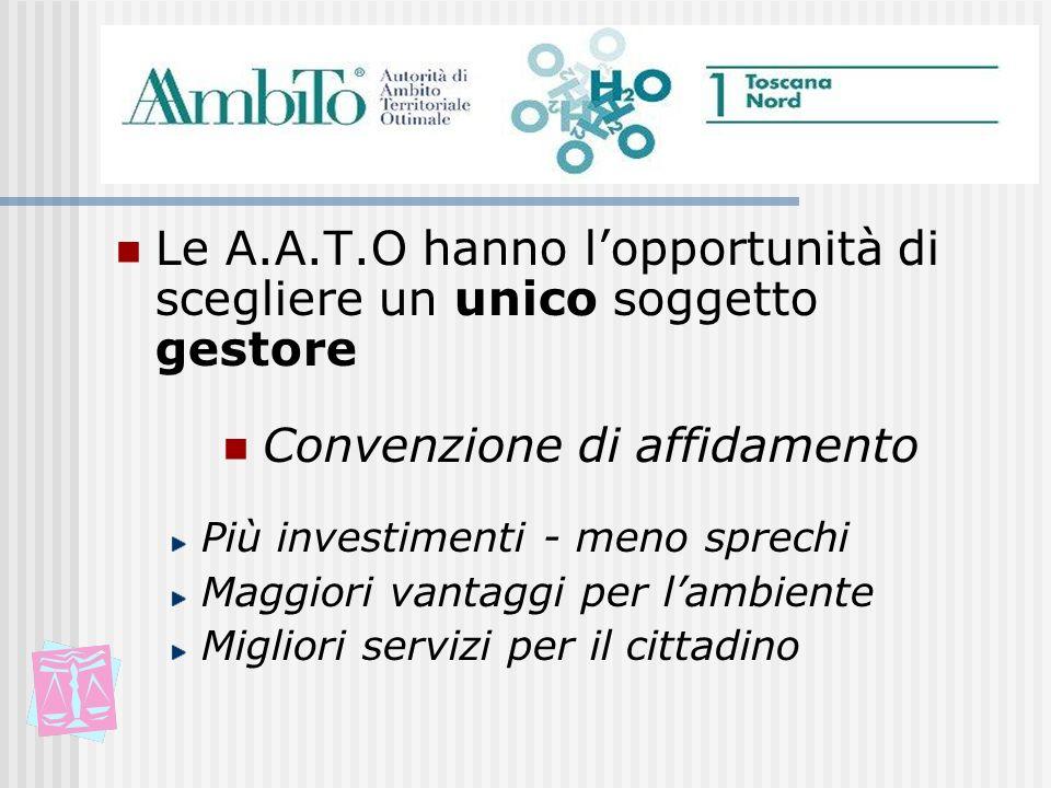 Le A.A.T.O hanno lopportunità di scegliere un unico soggetto gestore Convenzione di affidamento Più investimenti - meno sprechi Maggiori vantaggi per