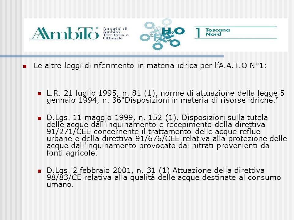 Le altre leggi di riferimento in materia idrica per lA.A.T.O N°1: L.R. 21 luglio 1995, n. 81 (1), norme di attuazione della legge 5 gennaio 1994, n. 3