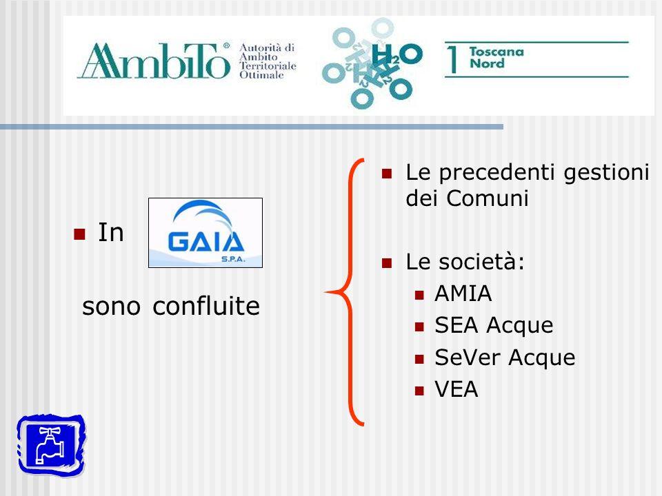 In sono confluite Le precedenti gestioni dei Comuni Le società: AMIA SEA Acque SeVer Acque VEA