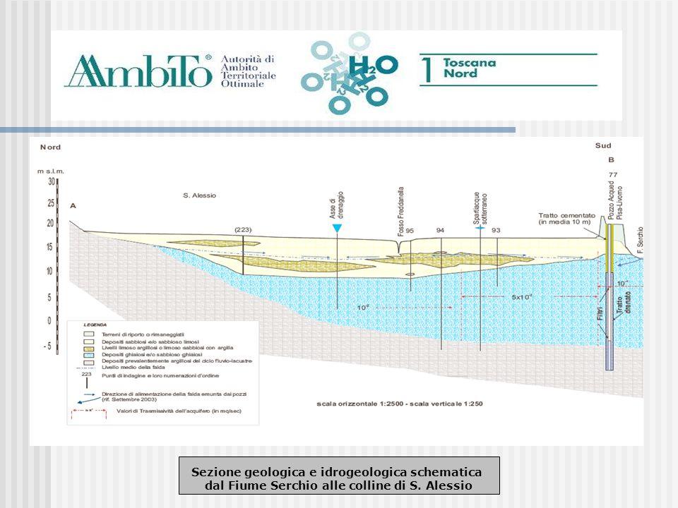 Sezione geologica e idrogeologica schematica dal Fiume Serchio alle colline di S. Alessio