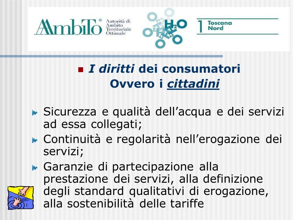 I diritti dei consumatori Ovvero i cittadini Sicurezza e qualità dellacqua e dei servizi ad essa collegati; Continuità e regolarità nellerogazione dei