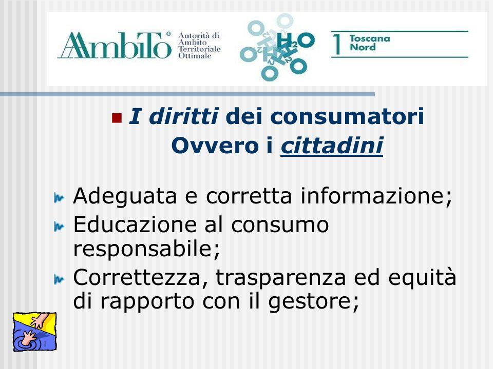 I diritti dei consumatori Ovvero i cittadini Adeguata e corretta informazione; Educazione al consumo responsabile; Correttezza, trasparenza ed equità