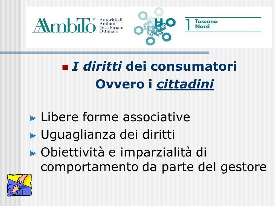 I diritti dei consumatori Ovvero i cittadini Libere forme associative Uguaglianza dei diritti Obiettività e imparzialità di comportamento da parte del