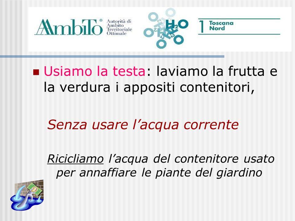 Usiamo la testa: laviamo la frutta e la verdura i appositi contenitori, Senza usare lacqua corrente Ricicliamo lacqua del contenitore usato per annaff