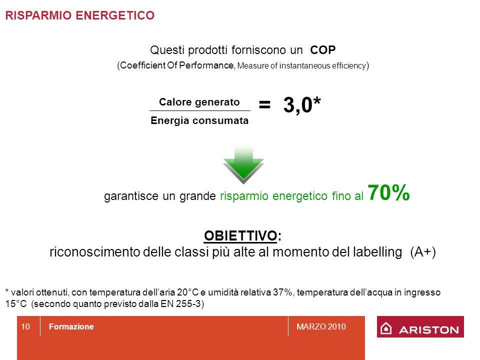 FormazioneMARZO 2010 10 Questi prodotti forniscono un COP (Coefficient Of Performance, Measure of instantaneous efficiency ) OBIETTIVO: riconoscimento