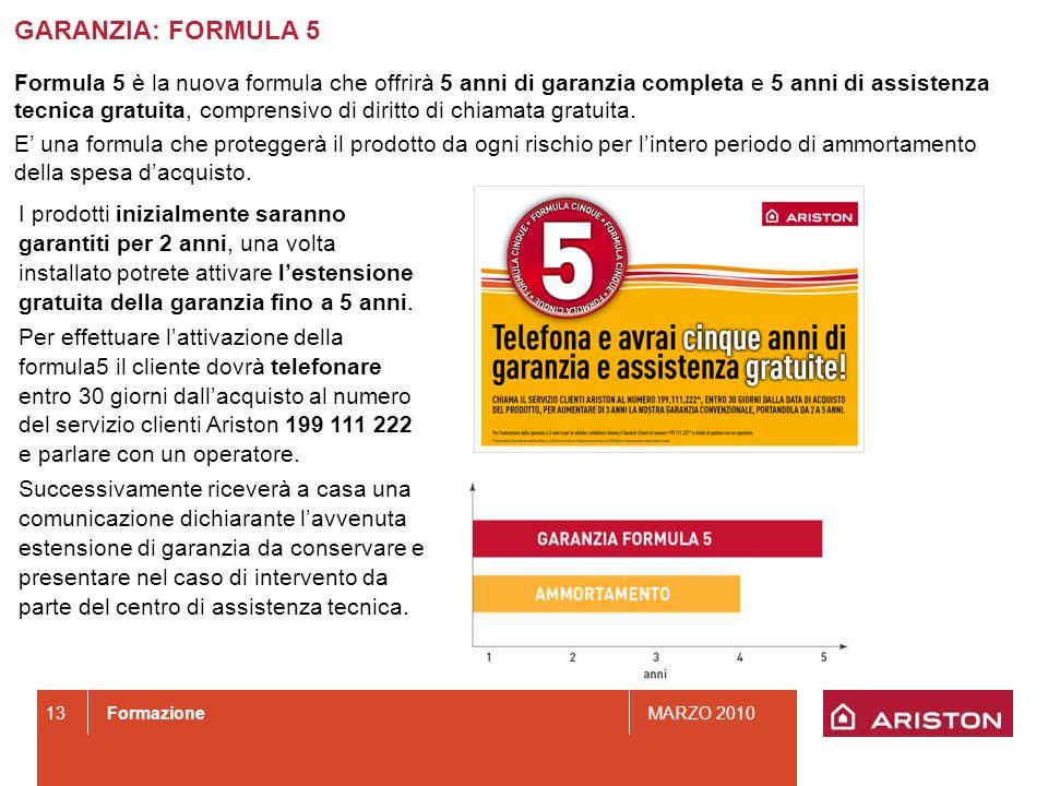 FormazioneMARZO 2010 13 GARANZIA: FORMULA 5 Formula 5 è la nuova formula che offrirà 5 anni di garanzia completa e 5 anni di assistenza tecnica gratui