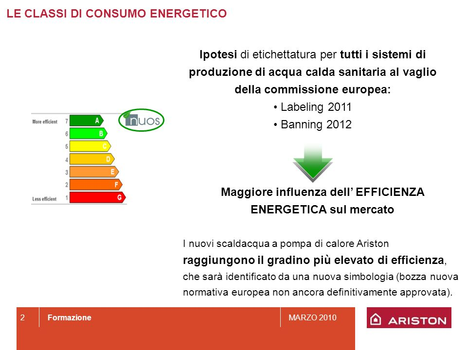 FormazioneMARZO 2010 2 Ipotesi di etichettatura per tutti i sistemi di produzione di acqua calda sanitaria al vaglio della commissione europea: Labeli