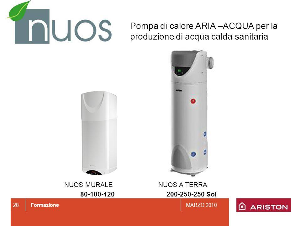 FormazioneMARZO 2010 Pompa di calore ARIA –ACQUA per la produzione di acqua calda sanitaria NUOS MURALE 80-100-120 NUOS A TERRA 200-250-250 Sol 28