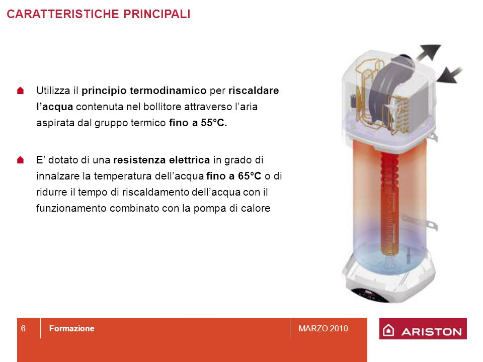 FormazioneMARZO 2010 6 CARATTERISTICHE PRINCIPALI Utilizza il principio termodinamico per riscaldare lacqua contenuta nel bollitore attraverso laria a
