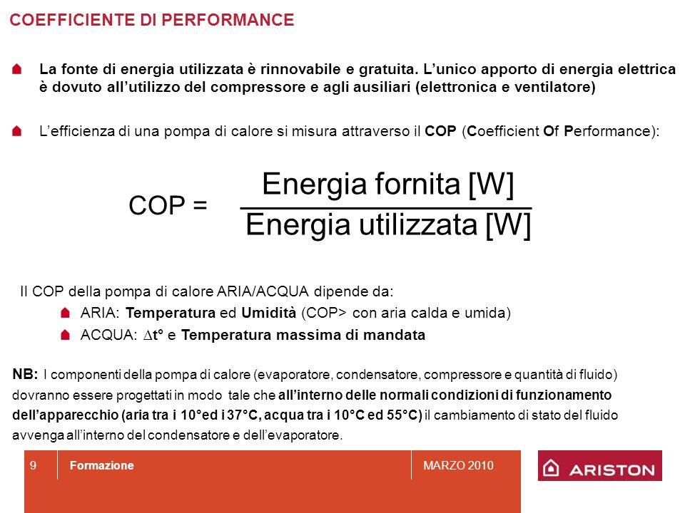 FormazioneMARZO 2010 9 Energia fornita [W] Energia utilizzata [W] COP = Il COP della pompa di calore ARIA/ACQUA dipende da: ARIA: Temperatura ed Umidi