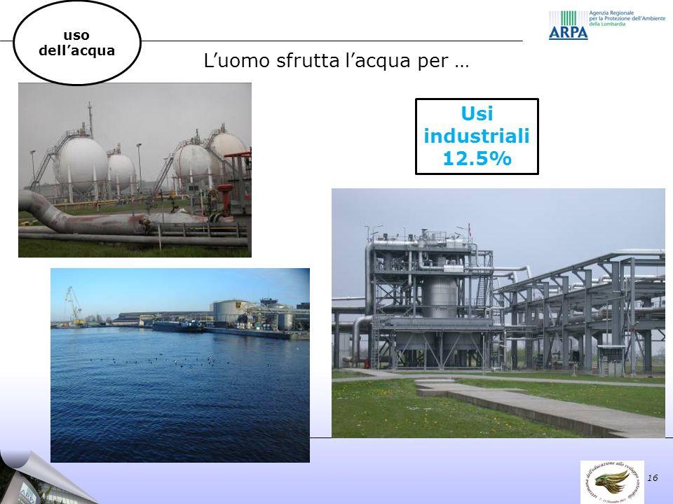 Luomo sfrutta lacqua per … Usi industriali 12.5% 16 uso dellacqua
