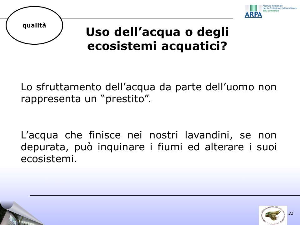 Uso dellacqua o degli ecosistemi acquatici.