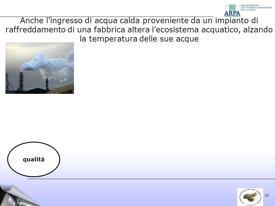 Anche lingresso di acqua calda proveniente da un impianto di raffreddamento di una fabbrica altera lecosistema acquatico, alzando la temperatura delle sue acque 32 qualità