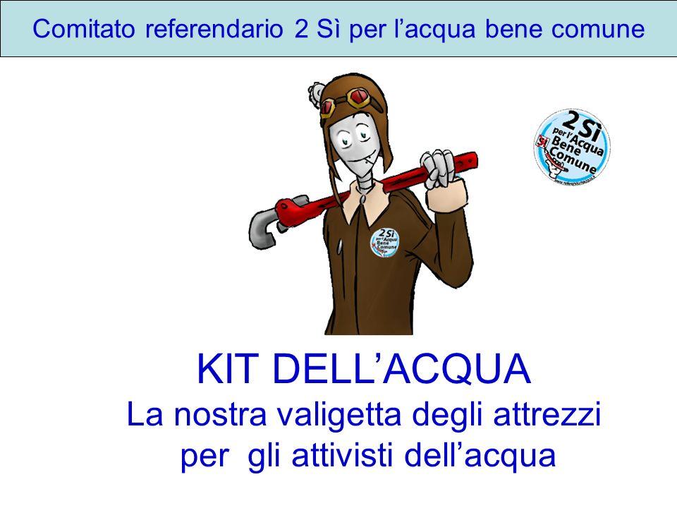 Comitato referendario 2 Sì per lacqua bene comune KIT DELLACQUA La nostra valigetta degli attrezzi per gli attivisti dellacqua