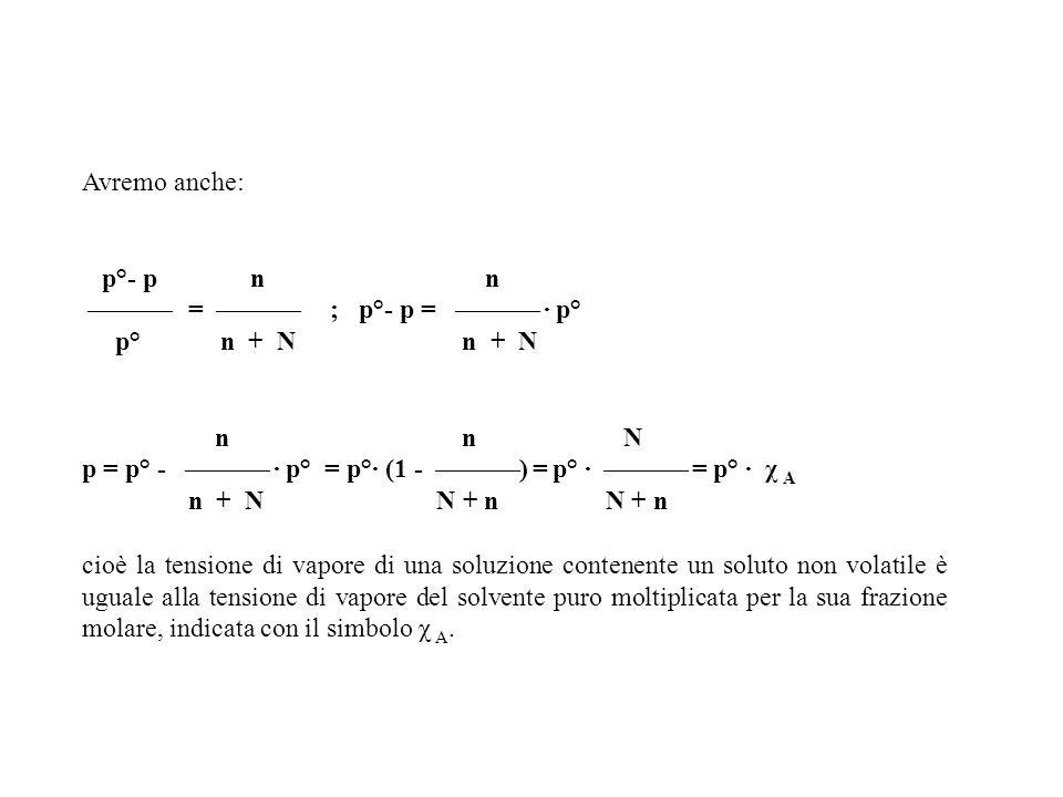 Avremo anche: p°- p n n = ; p°- p = · p° p° n + N n + N n n N p = p° - · p° = p°· (1 - ) = p° · = p° · χ A n + N N + n N + n cioè la tensione di vapor