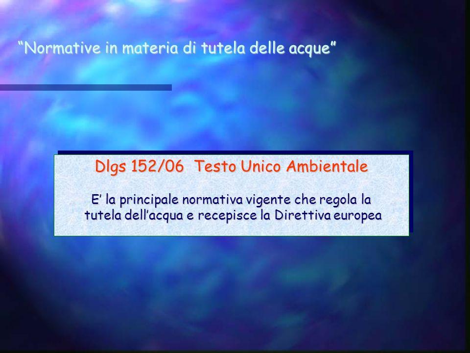 Normative in materia di tutela delle acque Dlgs 152/06 Testo Unico Ambientale E la principale normativa vigente che regola la tutela dellacqua e recep