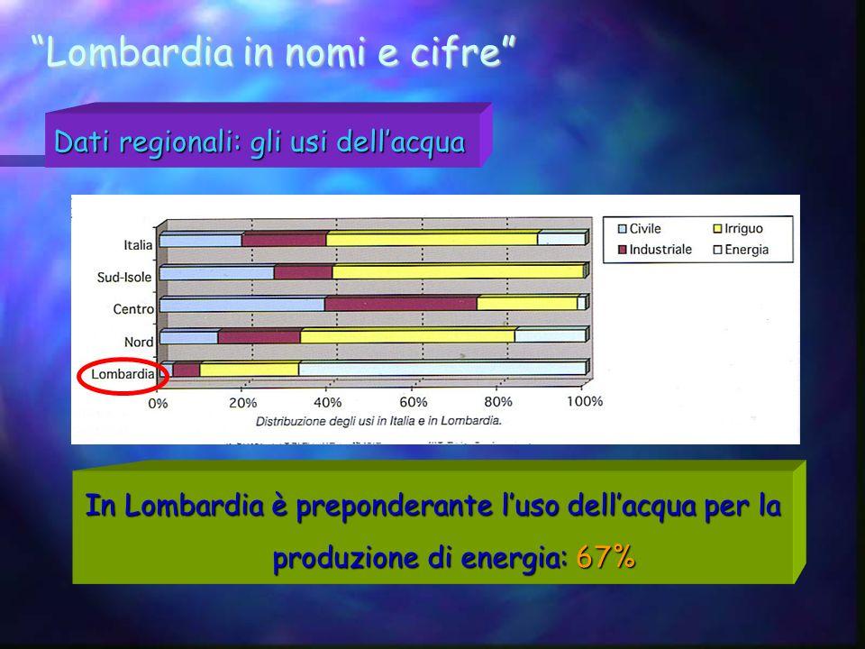 Lombardia in nomi e cifre Dati regionali: gli usi dellacqua In Lombardia è preponderante luso dellacqua per la produzione di energia: 67%