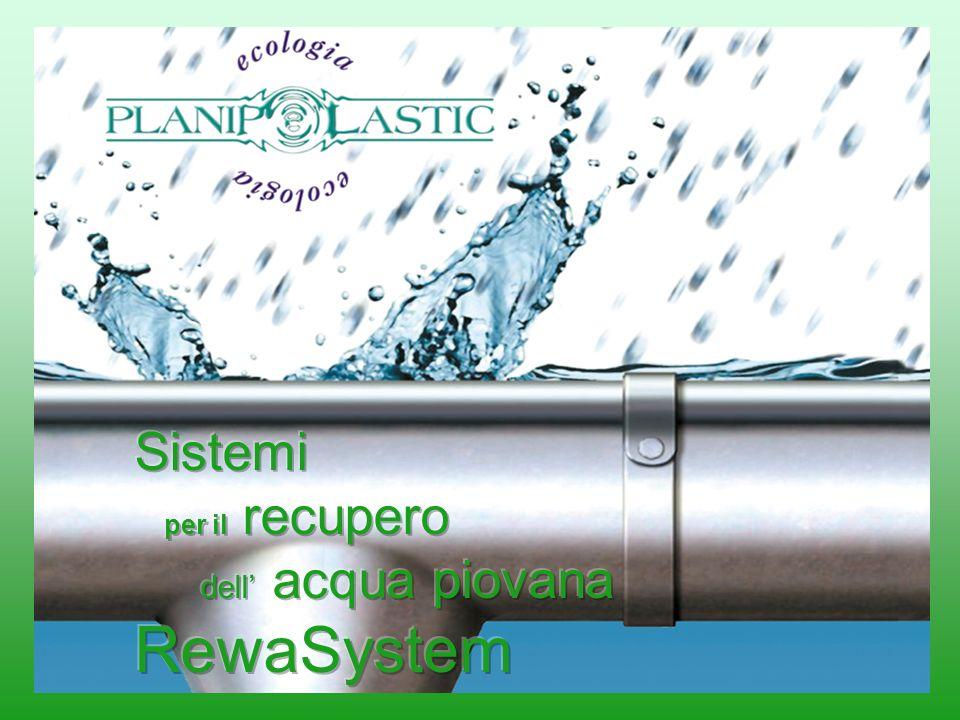 Gli impianti di recupero RewaSystem permettono il recupero delle acque meteoriche riutilizzandole per lirrigazione, il giardinaggio e per gli usi non potabili Il sistema è composto da: Una cisterna da interro in polietilene Un pozzetto filtrante interno o esterno Una pompa sommersa (RewaSystem Standard) Una stazione di pompaggio con pompa autoadescante e con reintegro dellacqua potabile (RewaSystem Special) Un fermagetto Un troppo pieno Lacqua è il bene più prezioso per luomo Lacqua è una risorsa esauribile, quindi non deve essere sprecata inutilmente SISTEMI PER IL RECUPERO DELLACQUA PIOVANA RewaSystem LACQUA HA UN GRANDE ALLEATO: IL POLIETILENE