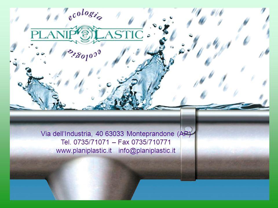 Via dellIndustria, 40 63033 Monteprandone (AP) Tel. 0735/71071 – Fax 0735/710771 www.planiplastic.it info@planiplastic.it