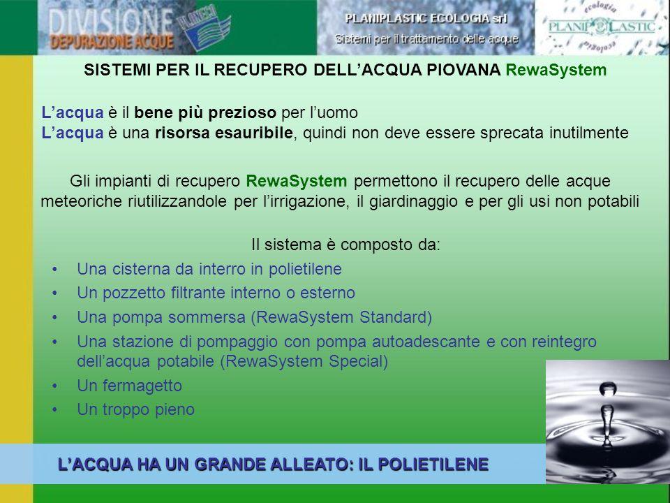 Gli impianti di recupero RewaSystem permettono il recupero delle acque meteoriche riutilizzandole per lirrigazione, il giardinaggio e per gli usi non