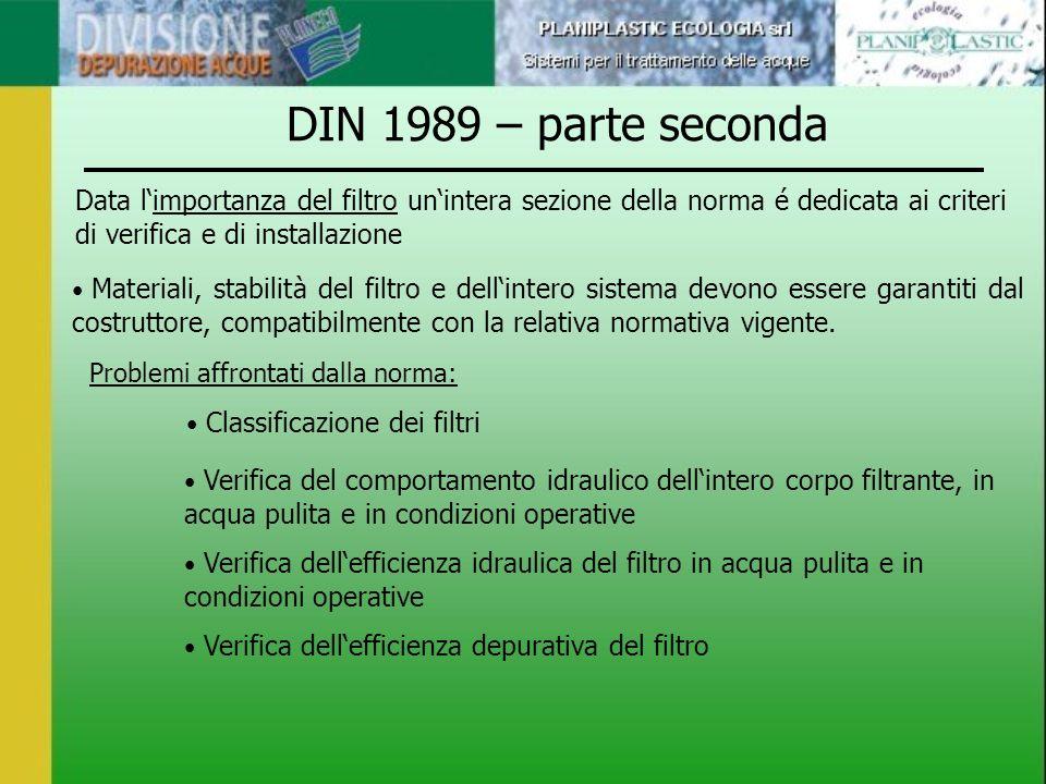 DIN 1989 – parte seconda Data limportanza del filtro unintera sezione della norma é dedicata ai criteri di verifica e di installazione Materiali, stab