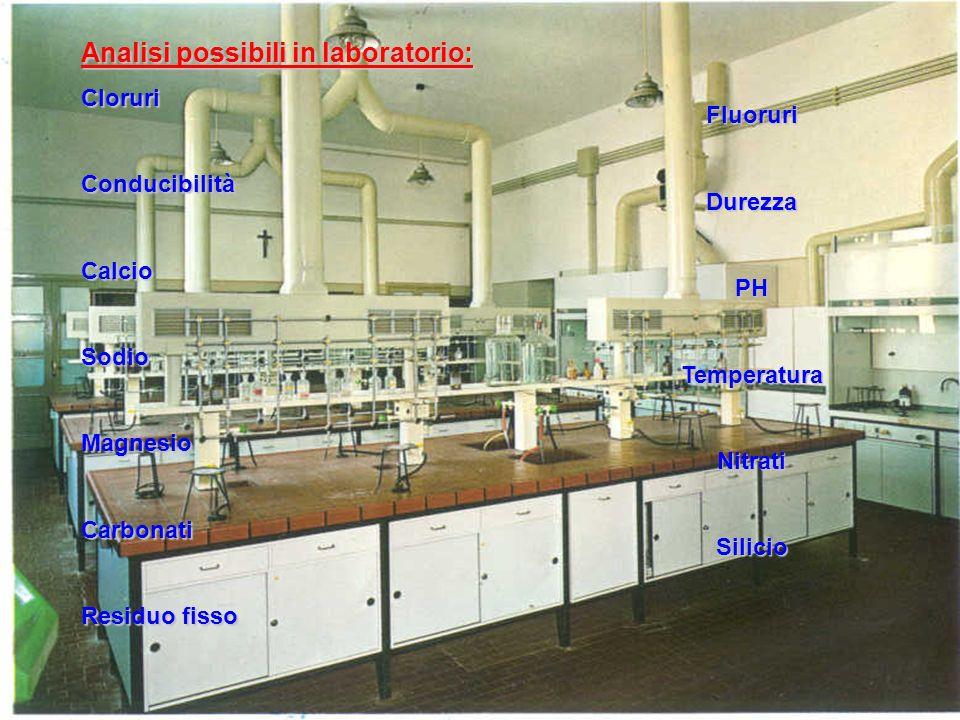 Analisi possibili in laboratorio: CloruriConducibilitàCalcioSodioMagnesioCarbonati Residuo fisso FluoruriDurezzaPHTemperaturaNitratiSilicio