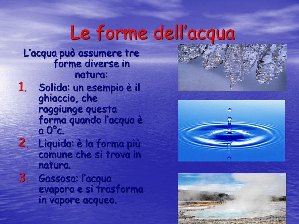 Le forme dellacqua Lacqua può assumere tre forme diverse in natura: 1. S olida: un esempio è il ghiaccio, che raggiunge questa forma quando lacqua è a