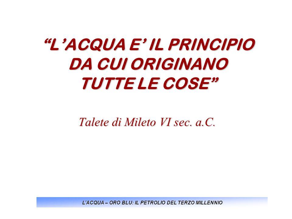 LACQUA E IL PRINCIPIO DA CUI ORIGINANO TUTTE LE COSE Talete di Mileto VI sec. a.C. LACQUA – ORO BLU: IL PETROLIO DEL TERZO MILLENNIO