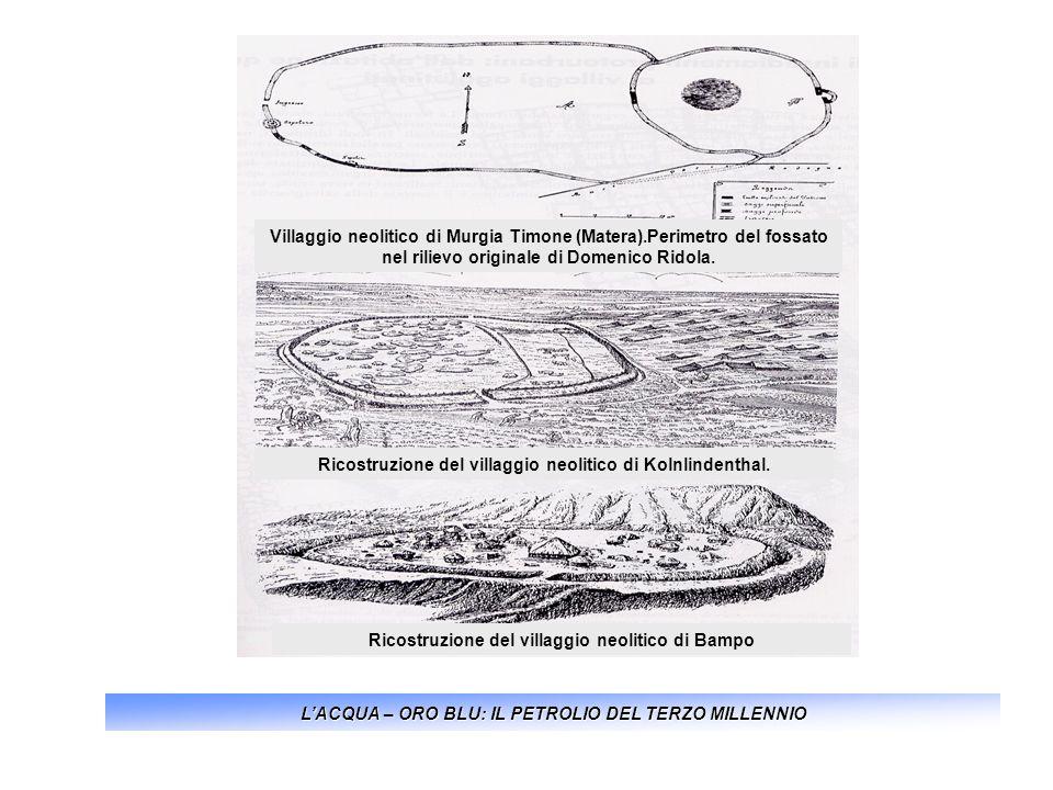 LACQUA – ORO BLU: IL PETROLIO DEL TERZO MILLENNIO Villaggio neolitico di Murgia Timone (Matera).Perimetro del fossato nel rilievo originale di Domenic