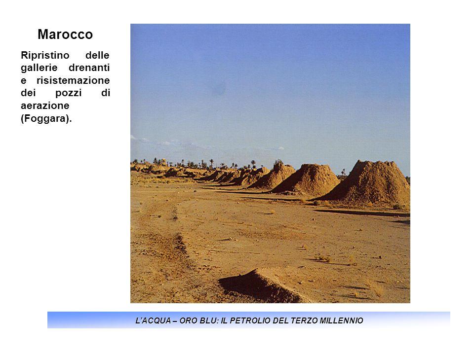 LACQUA – ORO BLU: IL PETROLIO DEL TERZO MILLENNIO Marocco Ripristino delle gallerie drenanti e risistemazione dei pozzi di aerazione (Foggara).