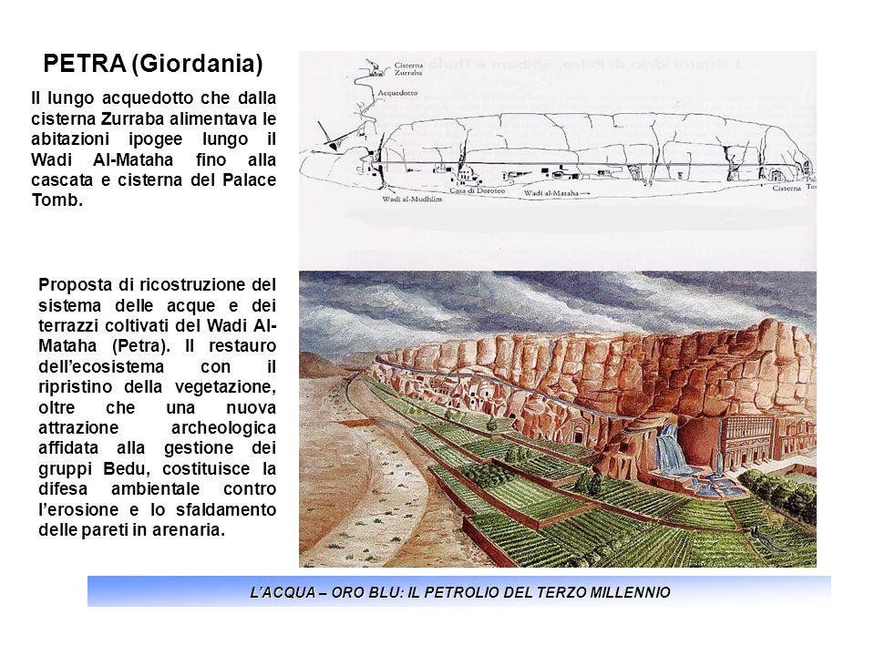 LACQUA – ORO BLU: IL PETROLIO DEL TERZO MILLENNIO PETRA (Giordania) Il lungo acquedotto che dalla cisterna Zurraba alimentava le abitazioni ipogee lun