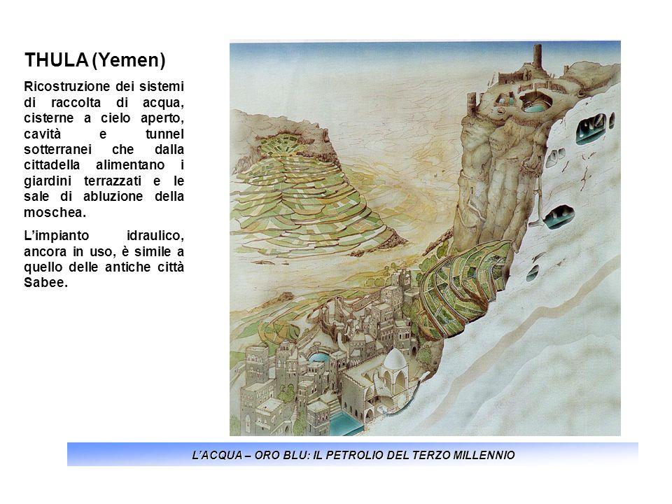 LACQUA – ORO BLU: IL PETROLIO DEL TERZO MILLENNIO THULA (Yemen) Ricostruzione dei sistemi di raccolta di acqua, cisterne a cielo aperto, cavità e tunn