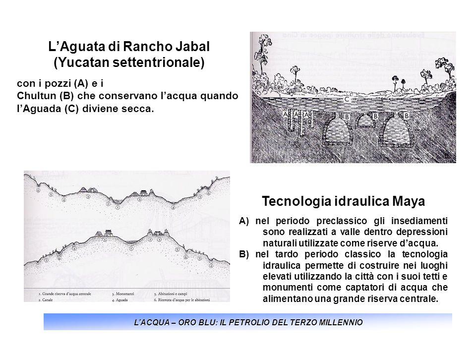LACQUA – ORO BLU: IL PETROLIO DEL TERZO MILLENNIO LAguata di Rancho Jabal (Yucatan settentrionale) con i pozzi (A) e i Chultun (B) che conservano lacq