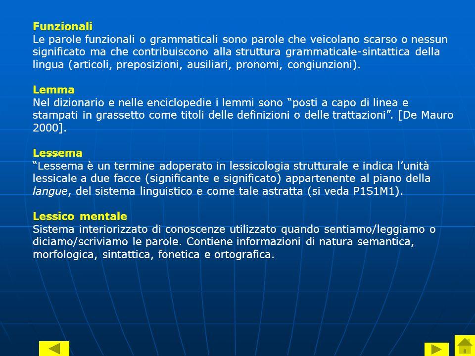 Funzionali Le parole funzionali o grammaticali sono parole che veicolano scarso o nessun significato ma che contribuiscono alla struttura grammaticale-sintattica della lingua (articoli, preposizioni, ausiliari, pronomi, congiunzioni).
