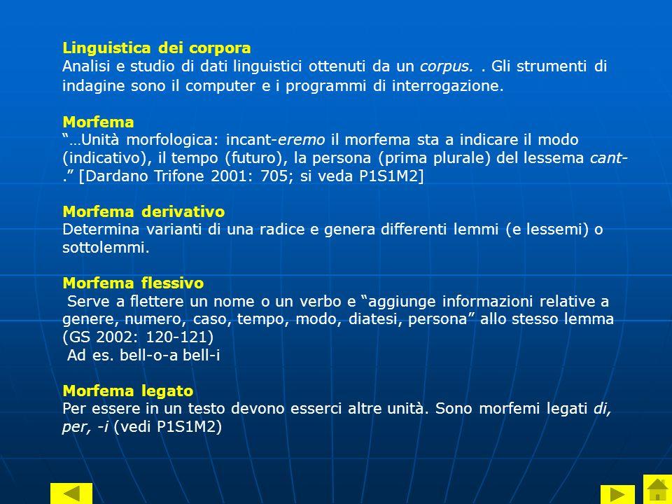 Linguistica dei corpora Analisi e studio di dati linguistici ottenuti da un corpus..