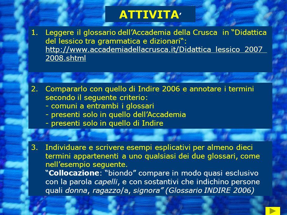 ATTIVITA 1.Leggere il glossario dellAccademia della Crusca in Didattica del lessico tra grammatica e dizionari: http://www.accademiadellacrusca.it/Didattica_lessico_2007_ 2008.shtml http://www.accademiadellacrusca.it/Didattica_lessico_2007_ 2008.shtml 2.Compararlo con quello di Indire 2006 e annotare i termini secondo il seguente criterio: - comuni a entrambi i glossari - presenti solo in quello dellAccademia - presenti solo in quello di Indire 3.Individuare e scrivere esempi esplicativi per almeno dieci termini appartenenti a uno qualsiasi dei due glossari, come nellesempio seguente.Collocazione: biondo compare in modo quasi esclusivo con la parola capelli, e con sostantivi che indichino persone quali donna, ragazzo/a, signora (Glossario INDIRE 2006)