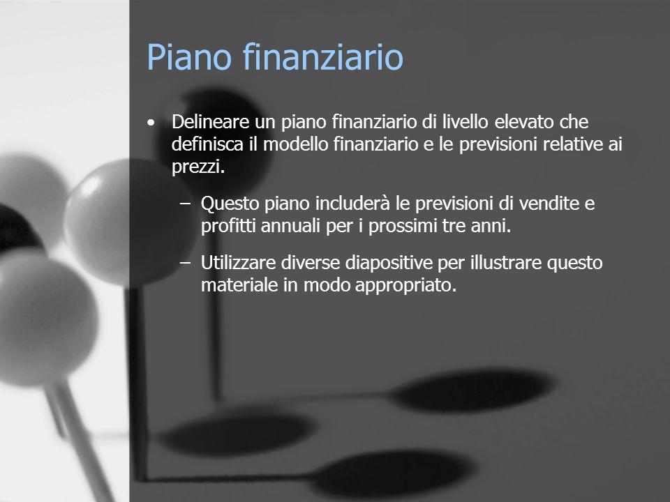 Piano finanziario Delineare un piano finanziario di livello elevato che definisca il modello finanziario e le previsioni relative ai prezzi. –Questo p
