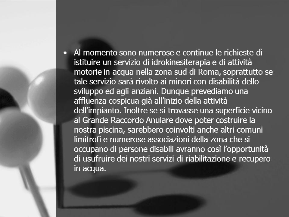 Al momento sono numerose e continue le richieste di istituire un servizio di idrokinesiterapia e di attività motorie in acqua nella zona sud di Roma,