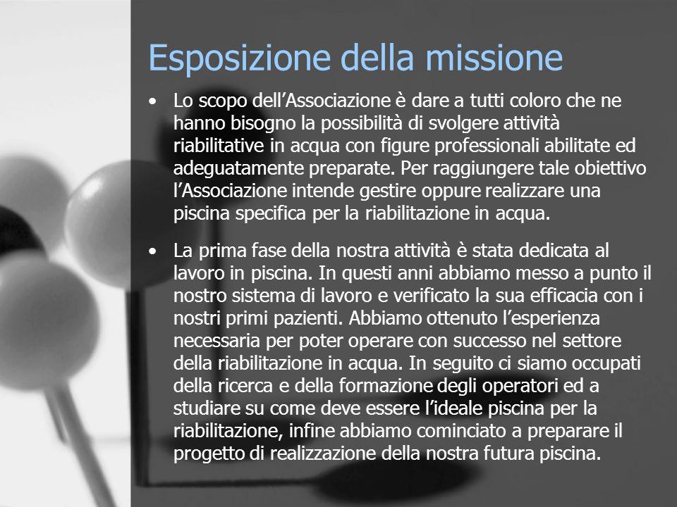 Esposizione della missione Lo scopo dellAssociazione è dare a tutti coloro che ne hanno bisogno la possibilità di svolgere attività riabilitative in a