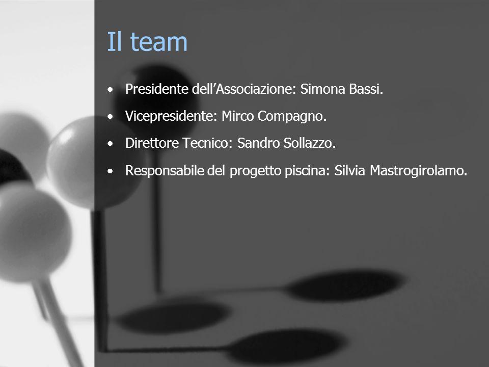 Il team Presidente dellAssociazione: Simona Bassi. Vicepresidente: Mirco Compagno. Direttore Tecnico: Sandro Sollazzo. Responsabile del progetto pisci
