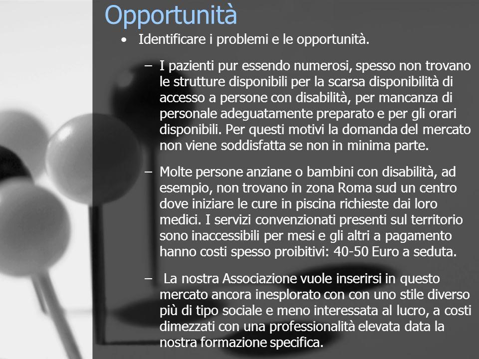 Opportunità Identificare i problemi e le opportunità. –I pazienti pur essendo numerosi, spesso non trovano le strutture disponibili per la scarsa disp