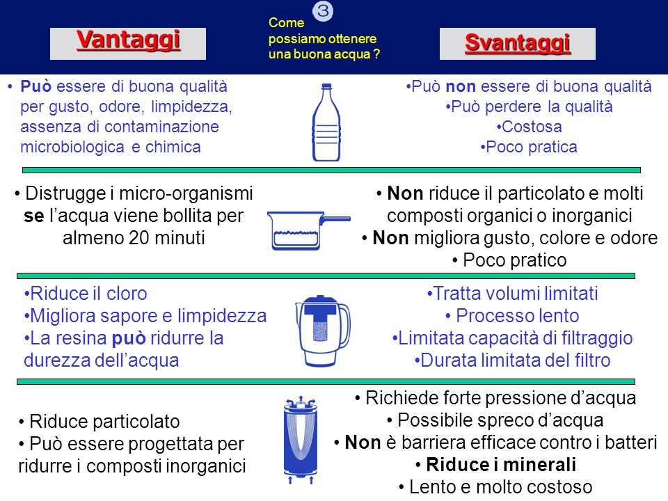 VantaggiSvantaggi Può essere di buona qualità per gusto, odore, limpidezza, assenza di contaminazione microbiologica e chimica Può non essere di buona